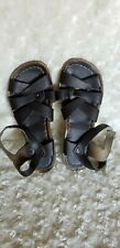 Hoy Salt Water Brown Leather Strappy Buckle Sandals Shoes Size 4 Youth Kids