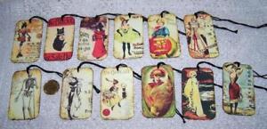 12~Halloween~Prim~Vintage~Masquerade~Fussy Cut~Linen Cardstock~Gift~Hang~Tags