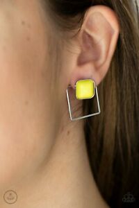 Paparazzi ~ FLAIR and Square Yellow Double Sided Earrings ~🔥NEW RELEASE 2021🔥