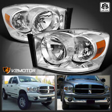 2006-2008 Dodge Ram Crystal Chrome Headlights Head Lamps Left+Right