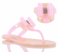 Nude & Pink nn Jelly Multi Color Flip Flops Bowknot Women Beach Shoes Size 9
