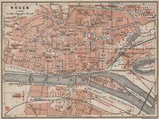 Rouen antique ville city plan de la ville. seine-maritime carte 1907 old map