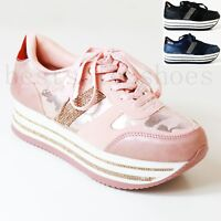 WOMENS LADIES DIAMANTE PLATFORM FLATFORM WEDGE CHUNKY LACE UP TRAINERS CREEPERS