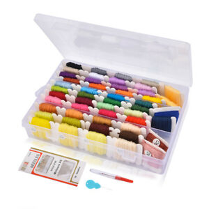 50x Multi Colors Cross Stitch Embroidery Thread Floss Sewing Skeins+Box&Needles