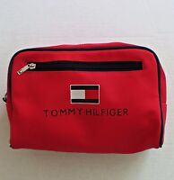 39361149eb Vtg TOMMY HILFIGER Spellout Red Travel Toiletry Cosmetic Shaving Bag Pouch  RARE!