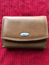 Ladies Rolfs Tan Clutch Tri Fold Wallet with Zip Coin Pouch