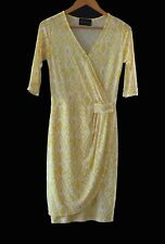 Pre-Loved Mock Wrap Dress. Color Yellow and White. Size SMALL.