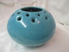 Vintage Broadmoor Pottery Denver lg turquoise blue Flower Pot Vase Clay I Am Tag