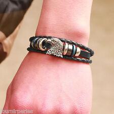 FP Bracelet Cuir Breloque Tête d'aigle Perles Fantaisie Cadeau Neuf 19cm