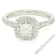 Tiffany & Co. Soleste Platinum 0.65ctw Cushion Diamond Dual Halo Engagement Ring