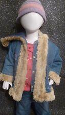 Girl children baby denim hooded jacket floral pattern 70s look age 6-12 months