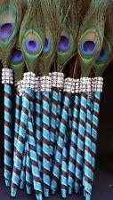 12 Peacock Feather Pen PartyFAVOR forWeddings,Sweet16, Bridal S,Quinceañera,Boda