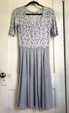 Lularoe Women's Nicole Dress Heathered Gray & White Polka Dots Size Small