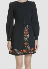 Ted Baker Womens Blue Floral Embroidered Belted Crew-neck Mini Dress Size 4