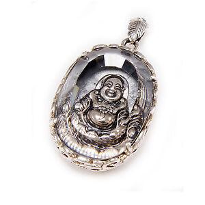LAUGHING BUDDHA WHITE CRYSTAL 29GM 925 STERLING SILVER BUDDHISM PENDANT khun-02