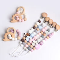 Hedgehog Beech Silicone Beads Baby Teething Bracelet Dummy Pacifier Chain Clips