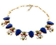 "J. Crew Blue Rhinestone Cluster Pendant Necklace Choker in Brass 1x20-22"""