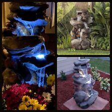 Outdoor Rock Waterfall Fountain Indoor Stone Garden Patio Backyard LED Light NEW