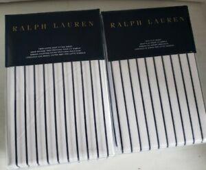 Polo Ralph Lauren TWIN Sheets Navy Pin Stripe prescot ticking nautical new