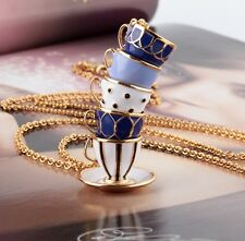 12K Gold Plated Tea Time Stacked Pendant Necklace