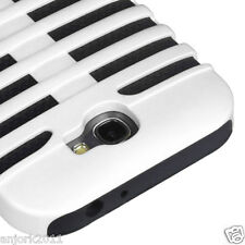 Samsung Galaxy Note II 2 Mic Dual Layer Hybrid Case Skin Cover White Black