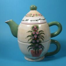 Bella Casa by Ganz Tea for One Stacking Teapot & Cup Topiary GAN3
