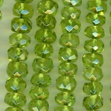 "PERIDOT AA grade 4mm Microfaceted Roundels Machine Cut 13"" strand"