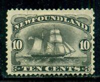 NEWFOUNDLAND Sc59 SG54 MH 1894 10c black Schooner SCV$130