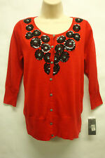 "*NWT Adorable Fever ""Tibetan Red"" Button Down Cardigan 3/4 Sleeves Sweater sz S"