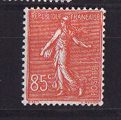 nf3/ timbre France semeuse lignée   85c   rouge   neuf  num: 204  *
