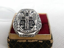 Rose Croix Rosicrucian Masonic ring silver