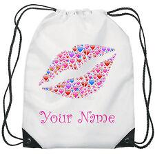 Personalised Lips Emoji Gym Bag PE Dance Sports School Swim Bag Waterproof