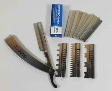 STAINLESS STEEL STRAIGHT EDGE FOLDING BARBER RAZOR + 3GUARDS + 5 PERSONNA BLADES