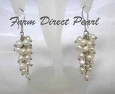 Genuine White Black Cultured Freshwater Pearl Dangle Earrings Silver Cluster