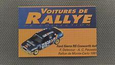 Certificat Voiture De Rallye De Collection « Ford Sierra RS Cosworth 4x4 »TBE.