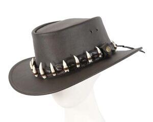 Brown Australian Jacaru Outback Leather Hat 17 Crocodile Teeth Crocodile Dundee