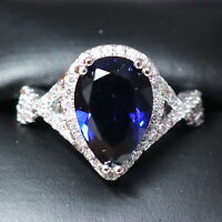 Sparkling Pear Blue Sapphire Ring Women Engagement Jewelry 14K White Gold