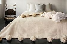 Free Express Shipping MOROCCAN WOOL POM POM BLANKET Queen Bed Bohemian Bed Cover
