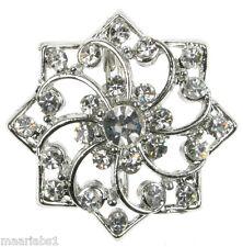 SILVER Snowflake Diamante Strass Spilla spilla pin bigiotteria nuovo Regno Unito