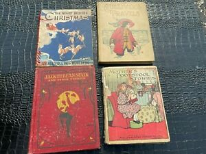LOT of 4 ANTIQUE CHILDRENS hardcover books
