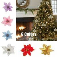 10 Pcs Artificial Fake Flower Xmas Christmas Tree Decorations Poinsettia Glitter