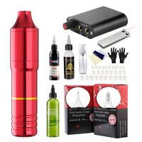 Rotary Tattoo Machine Pen Kit Power Supply 20Pcs Needle Cartridges With Ink US