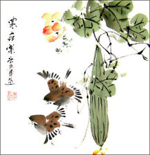 Asian Painting Original Chinese Brush Painting Art - Two Birds / Happy Couple