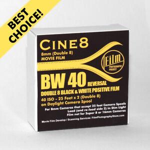Regular 8mm / Double 8 Movie Film - FPP CINE8 BW REVERSAL 40 ISO (25 FT)
