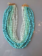 NWOT Multi Strand Turquoise Blue Mint Faceted Bead Statement Necklace