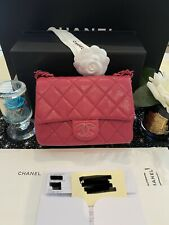 Brand New Chanel New Mini Square Caviar with Lacquered Metal in Hot Pink Colour