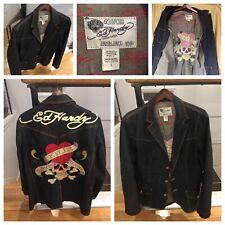 """Ed Hardy Vtg Denim Blazer/jacket """"Love Kills Slowly"""" Sz L Christian Audigier"""
