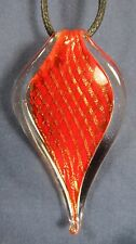 Pendant Necklace Red/Gold criss cross teardrop Shape Acrylic