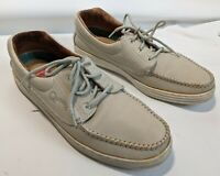 Quoddy shoes Boat shoes Moccasins leather upper US 10 light tan / off white bone