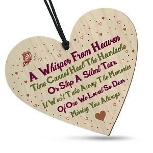 Bereavement Whisper From Heaven Wooden Heart Plaque Memorial Remembrance Loss